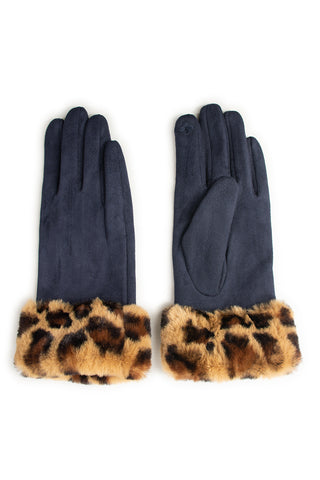 Navy Leopard Faux Fur Trim Gloves