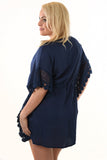 SECONDS, Navy Lace Trim Kaftan