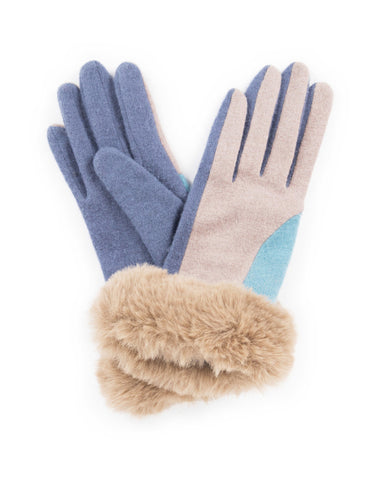 Blue & Taupe Alexandra Powder Gloves