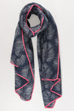 SECONDS - Navy And Neon Pink Palm Scarf