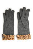 Grey & Leopard Trim Gloves