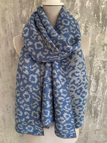 Pleated Leopard Scarf, Blue