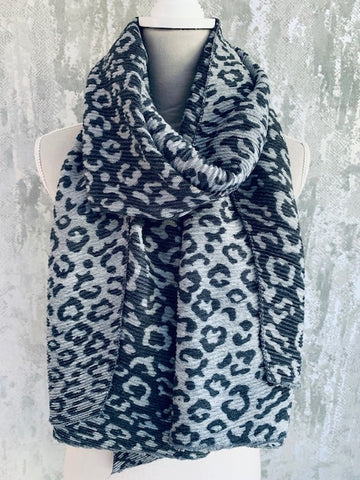 Pleated Leopard Scarf, Grey
