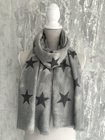 Grey Mottled Star Scarf