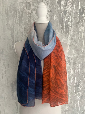 Navy & Orange Mottled Scarf
