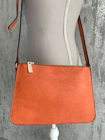 Winter Orange Triple Zip Crossbody Bag