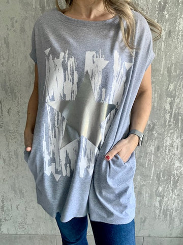 Grey Metallic Star Tunic Top