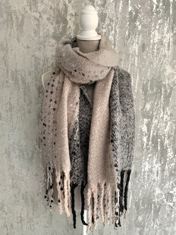 Grey & Blush Blanket Scarf