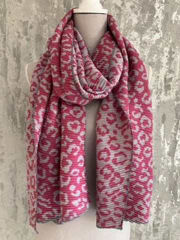 Pleated Leopard Scarf, Pink