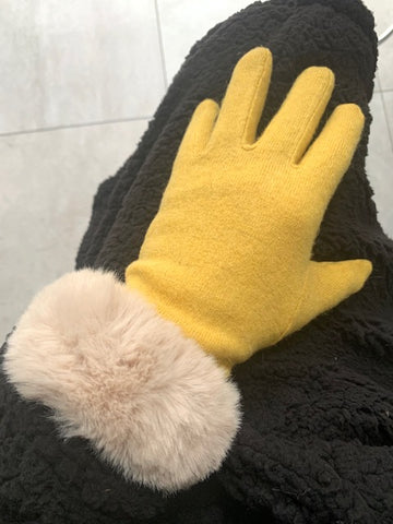 Yellow Wool Faux Fur Trim Gloves