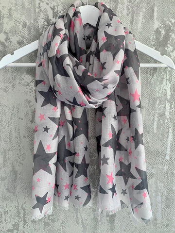 Grey & Pink Star Scarf