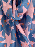 Denim Blue & Pink Star Scarf