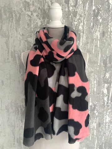 Pink & Grey Large Leopard Wrap Scarf