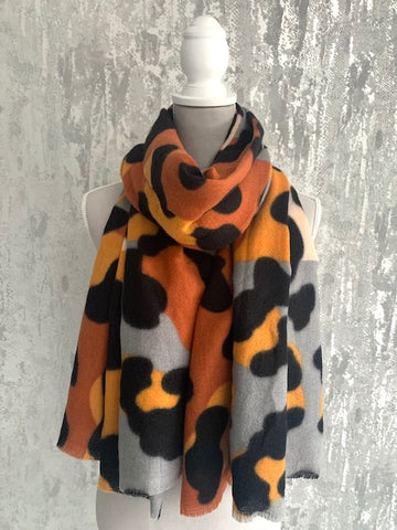 Orange & Grey Large Leopard Wrap Scarf
