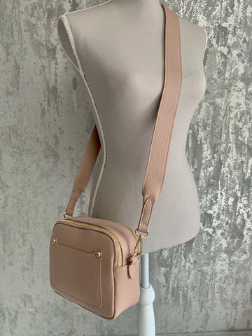 Nude Blush Leather Pocket Camera Bag