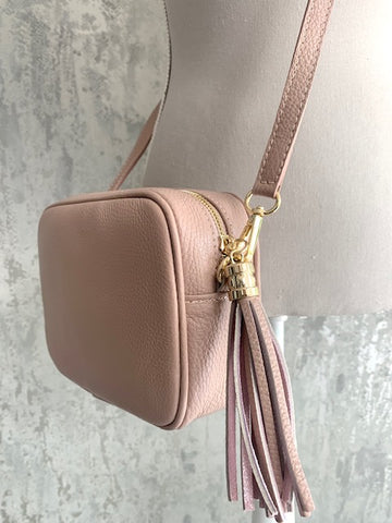 Nude Blush Leather Camera Bag