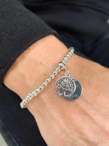 Delicate Silver Tree Of Life Beaded Bracelet