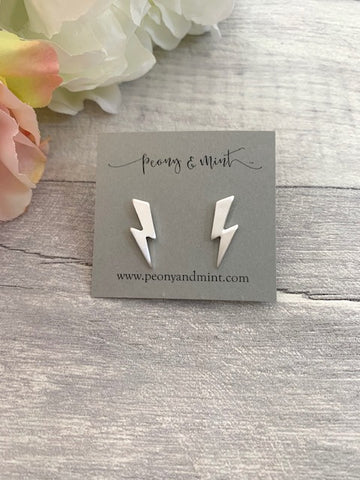 Matt Silver Lightening Bolt Earrings