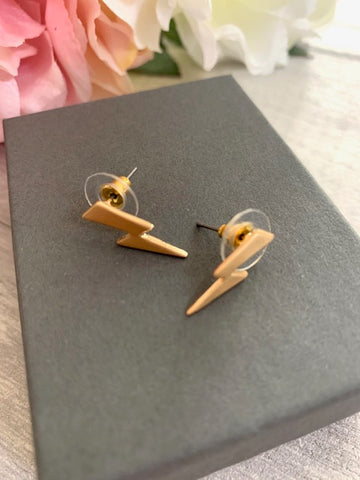 Matt Gold Lightening Bolt Earrings