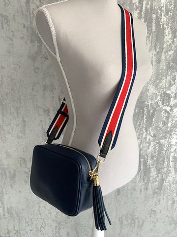 Navy Leather Camera Bag & Red Stripe Strap
