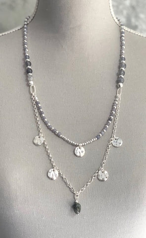 Double Layer Boho Necklace - Silver