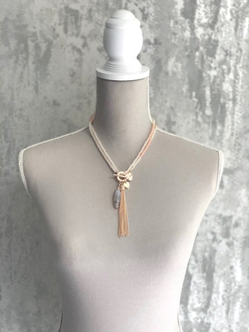 Versatile Blush & Rose Gold Tassel Necklace