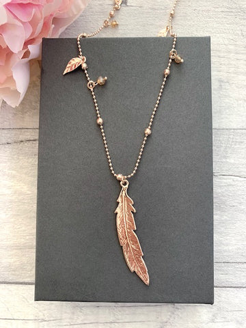 Long Rose Gold Feather Charm Necklace