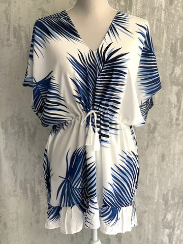 White & Blue Palm Drawstring Tunic