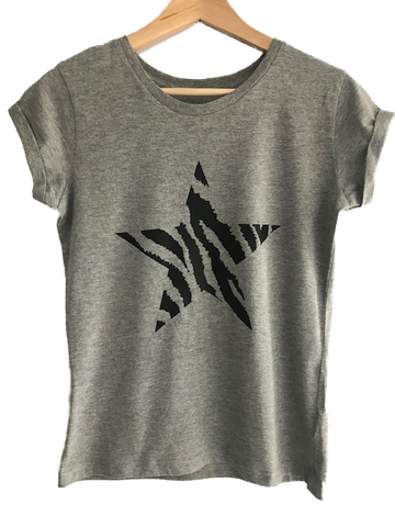 Grey Fitted Black Zebra Star T-Shirt