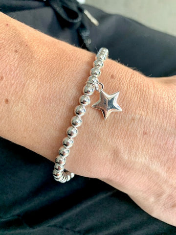 Beaded Star Pendant bracelet, Silver