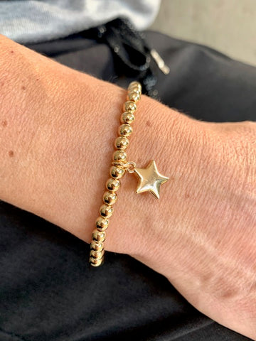 Beaded Star Pendant bracelet, Gold