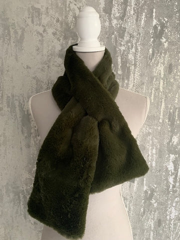 Olive Faux Fur Scarf