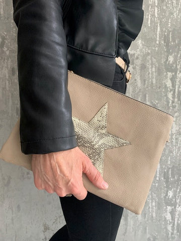 Nude Snakeskin Star Faux Leather Bag