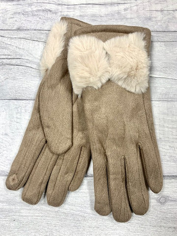 Taupe Faux Fur Trim Gloves