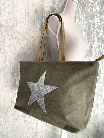 Khaki Star Canvas Tote