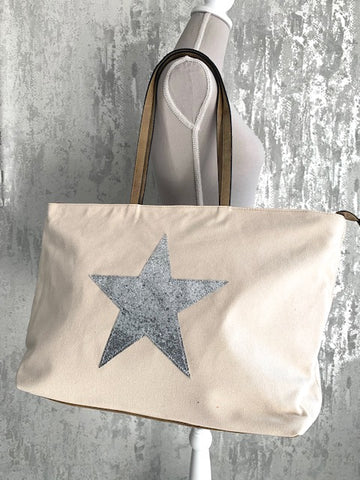 Ivory Star Canvas Tote