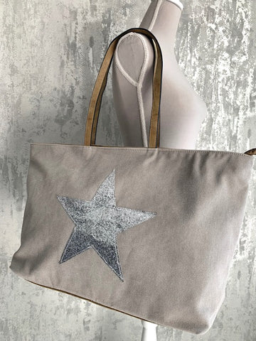 Pale Grey Star Canvas Tote