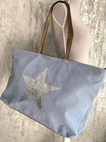 Pale Blue Star Canvas Tote