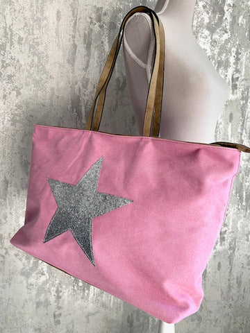 Pink Star Canvas Tote