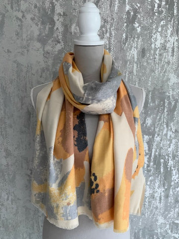 Soft Touch Mustard & Grey Floral Scarf
