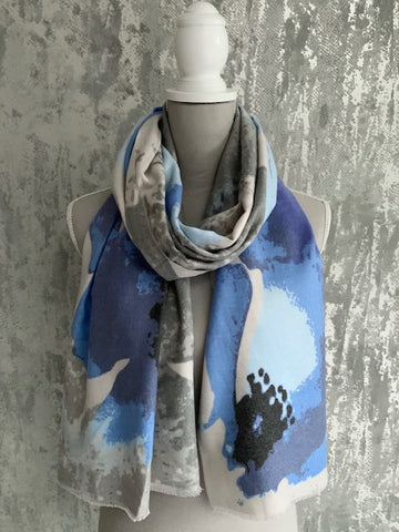 Soft Touch Blue & Grey Floral Scarf