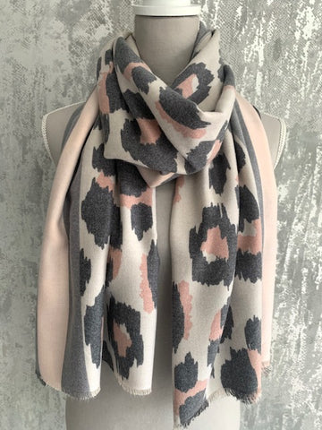 Pink & Grey Leopard Soft Touch Scarf