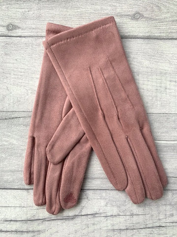 Pink Faux Suede Gloves