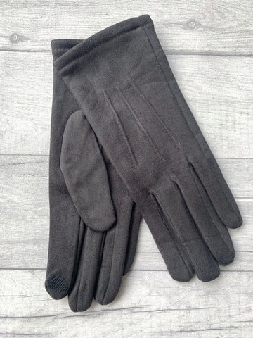 Dark Grey Faux Suede Gloves