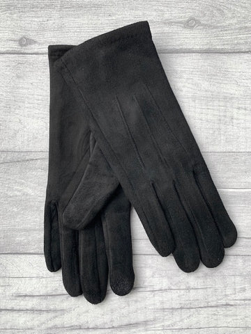 Black Faux Suede Gloves