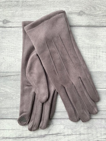 Pale Grey Faux Suede Gloves