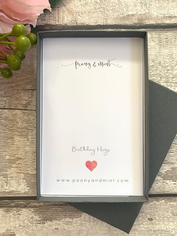 """Birthday hugs"" Necklace Gift Box"