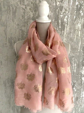 Pink & Metallic Gold Mulberry Tree Scarf