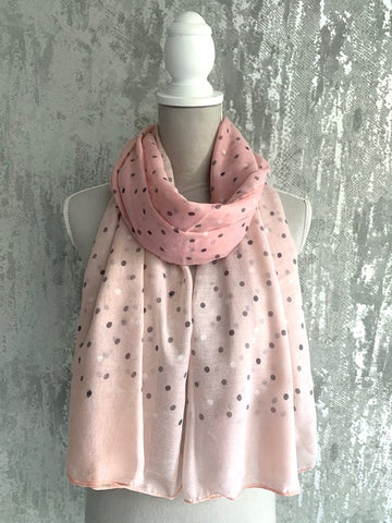 Pink Polka Dot Scarf With Pink Neon Trim