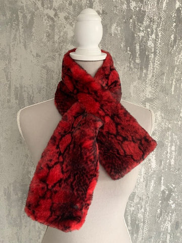Red Faux Fur Snakeskin Scarf